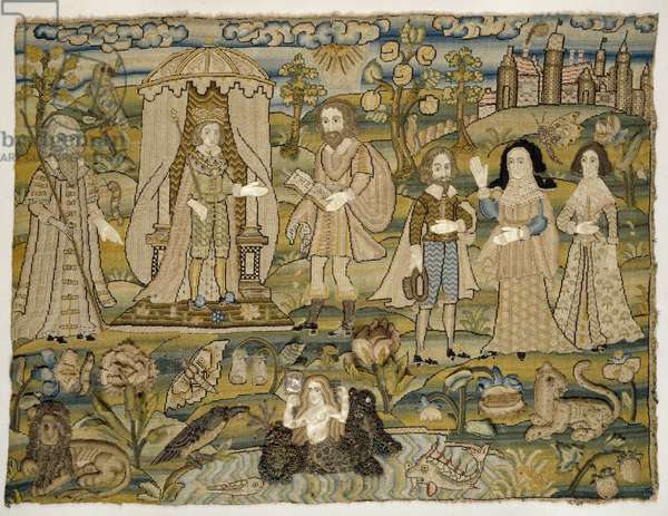 """Embroidered picture: """"The Proclamation of Solomon"""", mid-17th century (mixed media)"""