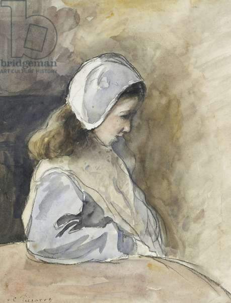 Jeanne-Rachel Pissarro seated at a table, c. 1872 (watercolour over black chalk)