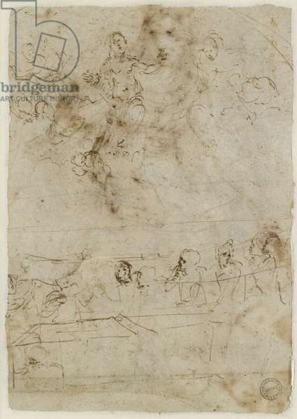Verso: The Assumption of the Virgin, WA1846.195 (pen & brown ink, with separate traces of leadpoint on the recto)