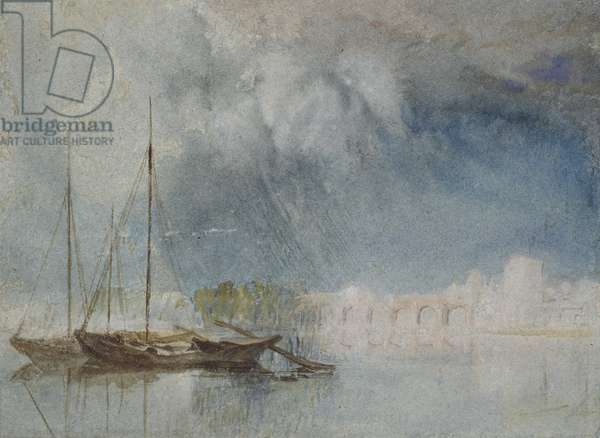 Nantes: Pont Pirmil, c. 1830 (watercolour with bodycolour and pen and brown ink)