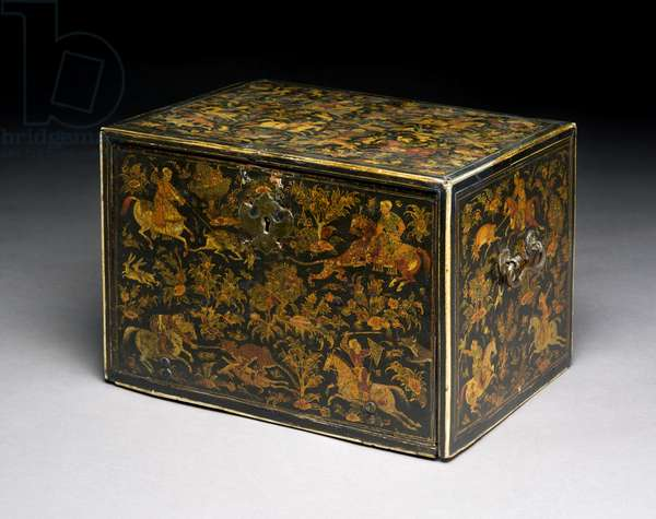 Writing cabinet depicting noblemen hunting, 17th century (lacquered wood) (see 119073 for detail)