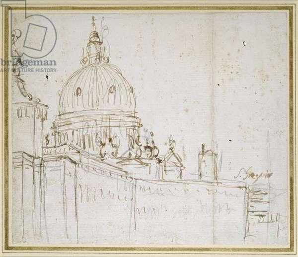 Venice: The Dogana di Mare and S. Maria della Salute (pen and brown ink over black chalk)