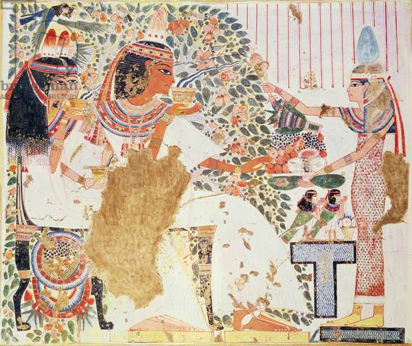 Copy of a wall painting depicting the 'Sycamore tree goddess' from a Theban tomb, probably New Kingdom