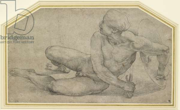 Recumbent Figure of a Soldier, WA1846.201 (black chalk)