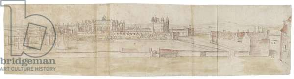 Hampton Court Palace from the North (pen and brown ink and watercolour over faint indications in black chalk)
