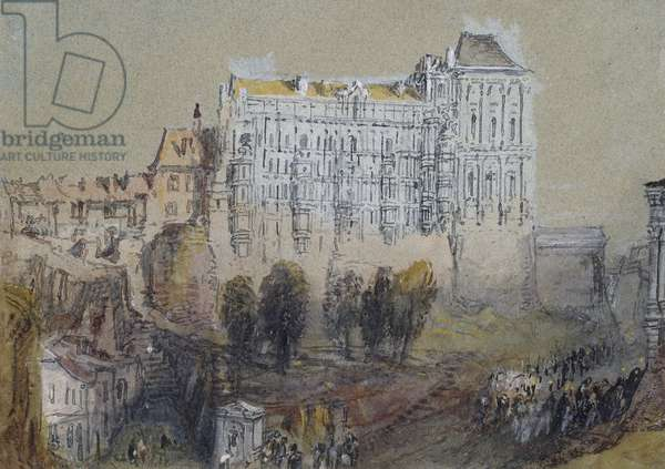 Palace at Blois, c. 1830 (watercolour over graphite with bodycolour and pen and brown and black ink)