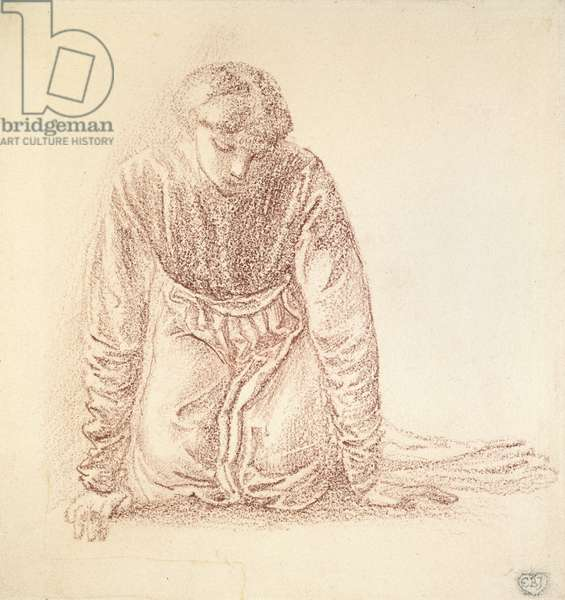 Kneeling Figure of a Woman (dark red chalk on white paper)