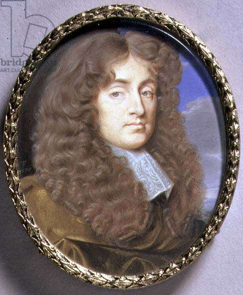 Portrait Miniature of a Man in Brown Velvet, 1675 (w/c on vellum)
