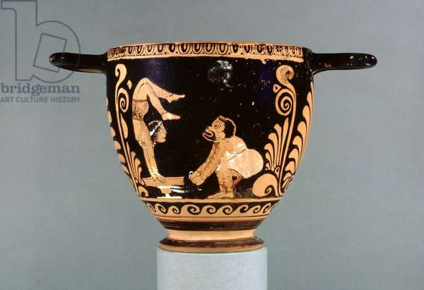 Paestan red-figure skyphos, decorated with a phlyax actor and a female acrobat, Greek, Asteas Group, c.350-325 BC (ceramic)