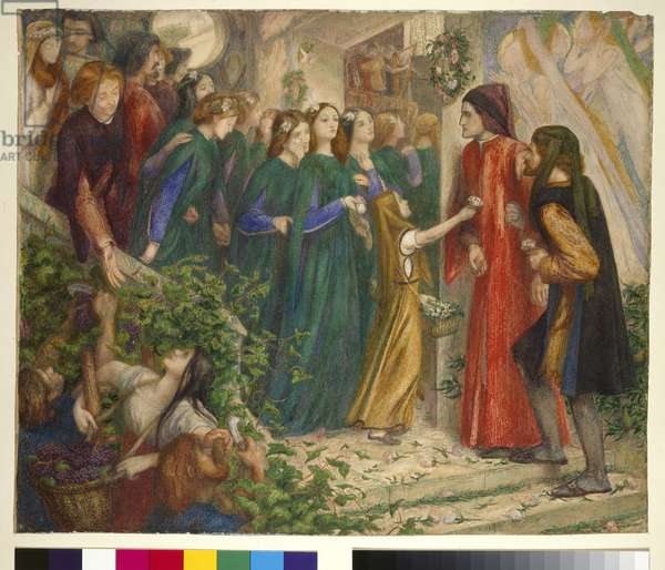 Beatrice Meeting Dante at a Marriage Feast Denies Him Her Salutation, 1860s (oil on canvas)
