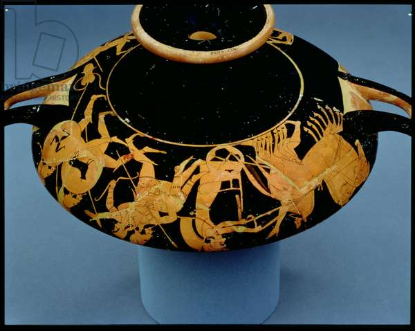 Attic red-figure cup decorated with a charioteer and warriors, by Oltos, c.510 BC (ceramic)