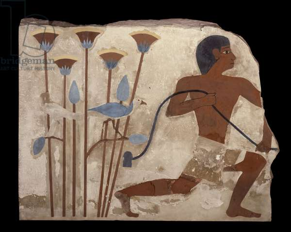 Bird Snaring, relief from the Tomb of Nefermaat, Old Kingdom, c.2620 BC (painted stucco relief)