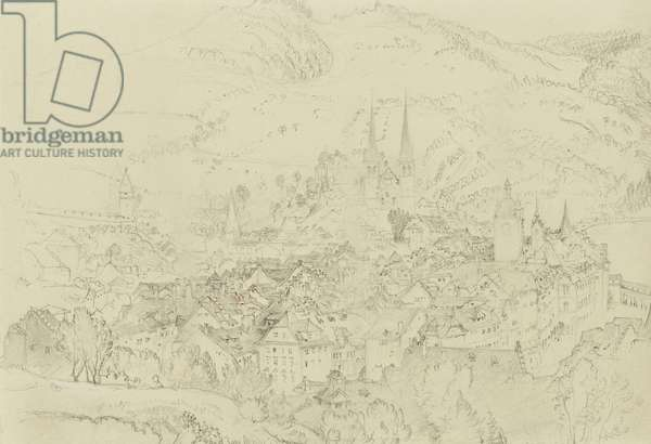 View of Luzern from above, October-December 1861 (graphite with touches of pen and ink on pale grey wove paper)