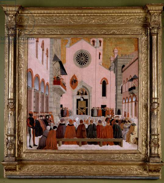St. Vincent Ferrer Preaching in front of the Church of Sant' Eufemia in Verona (oil on panel)