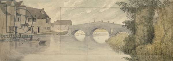 Hythe Bridge, Oxford, 1789 (watercolour over graphite on three sheets of paper pasted onto a larger sheet)
