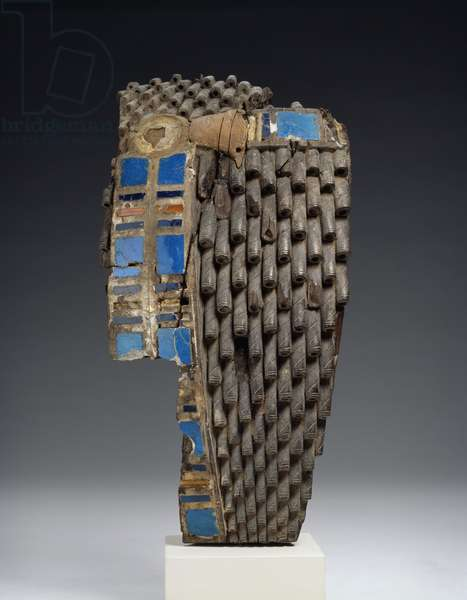 Fragment of a royal wig sculpted in wood, 18th-19th Dynasty, c.1540-1190 BC (wood, faience, rawhide, carnelian)