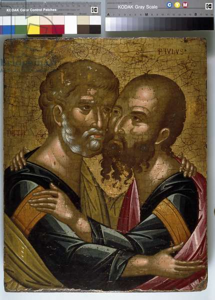 Icon of The Embrace of the Apostles Peter and Paul (oil on canvas on panel)