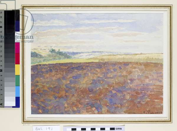 Study of a landscape with a ploughed field, Eragny-sur-Epte, c.1887-89 (w/c on paper)