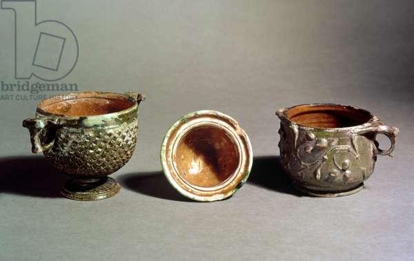 Vessels, 1st century (green glazed earthenware)