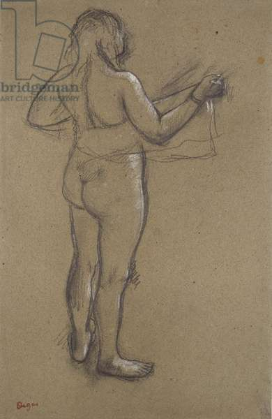 Nude Woman Drying Herself, 19th century (charcoal heightened with white on paper)