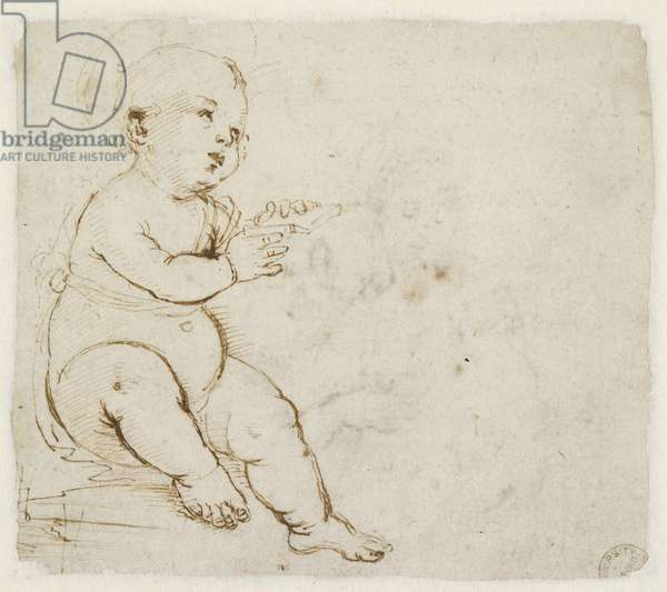 Verso: Study for the Christ Child, WA1846.152a (pen & brown ink over blind stylus)