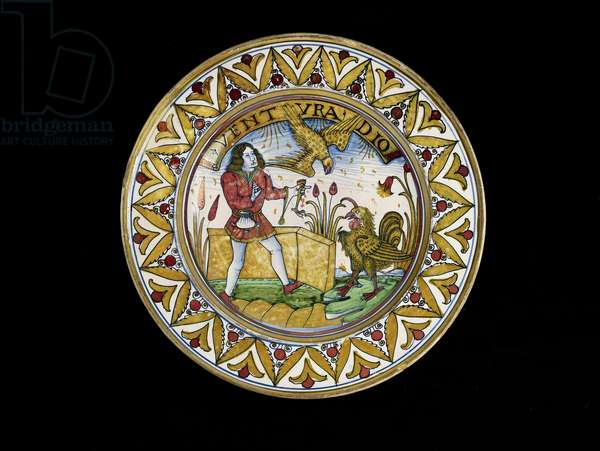 Dish with a scene from Aesop's Fables, probably Deruta, c.1490-1510 (maiolica)