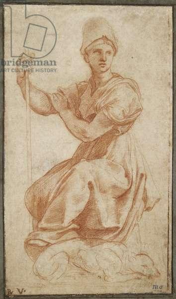 Allegorical Female Figure; Allegory of Fides, WA1956.21 (red chalk)