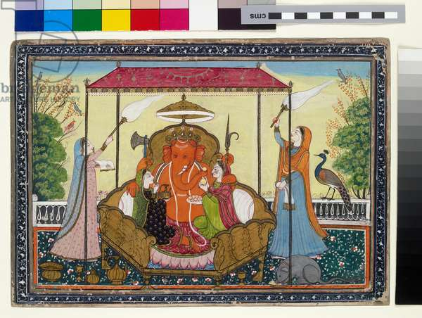 Ganesha with his wives and attendants, 1810-20 (gouache with gold on paper)