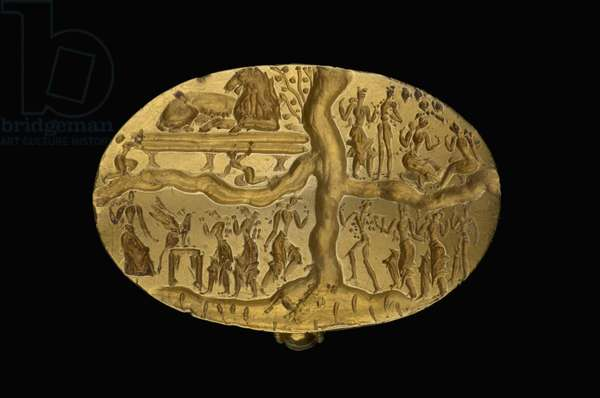 The 'Ring of Nestor' signet ring, Late Minoan Period, c.1700-1450 BC (gold)