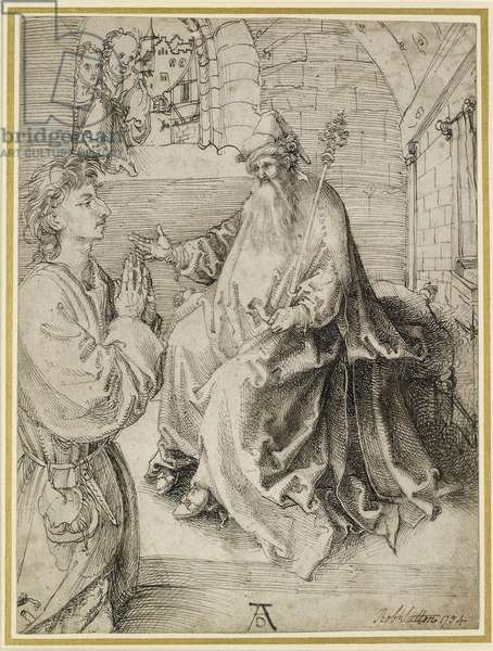 Youth Kneeling before a Potentate, 15th century (pen & ink on paper)