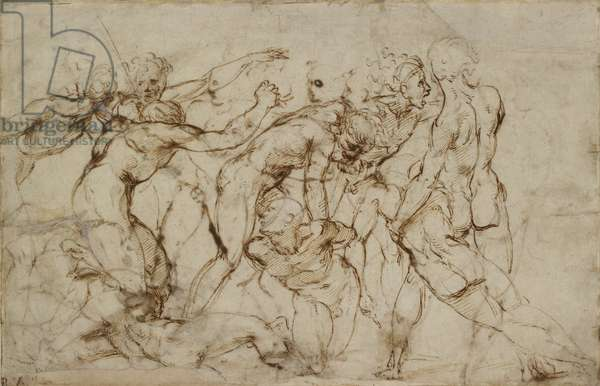Battle Scene with Prisoners being pinioned (pen and brown ink over faint indications in black chalk on blue-grey paper)