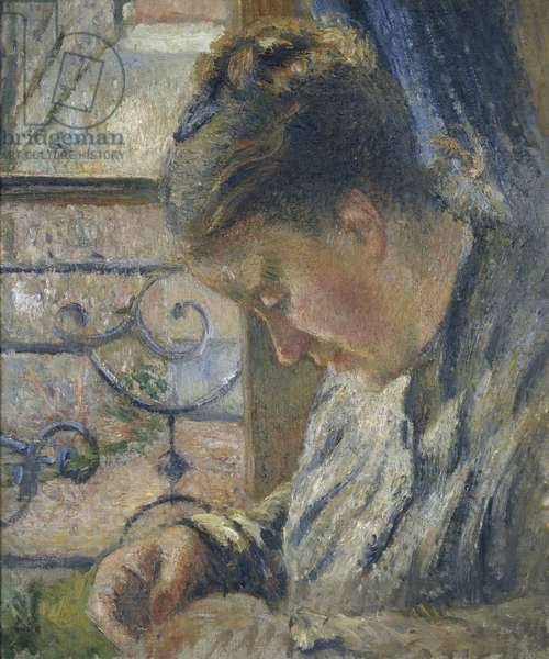 Portrait of Madame Pissarro sewing beside a Window, 19th century (oil on canvas)