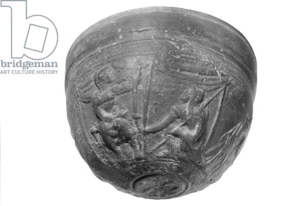 Bowl with scenes from the Iliad and the Aethiopis (stone) (b/w photo)