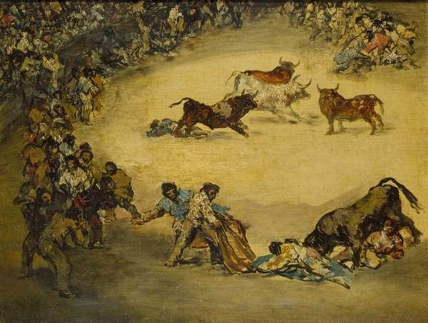 Scene at a Bullfight: Spanish Entertainment, 18th century (oil on canvas)