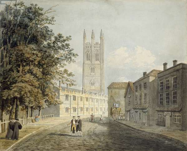 Magdalen College and the Eastern End of the High Street, Oxford, 1795 (watercolour over indications in graphite)