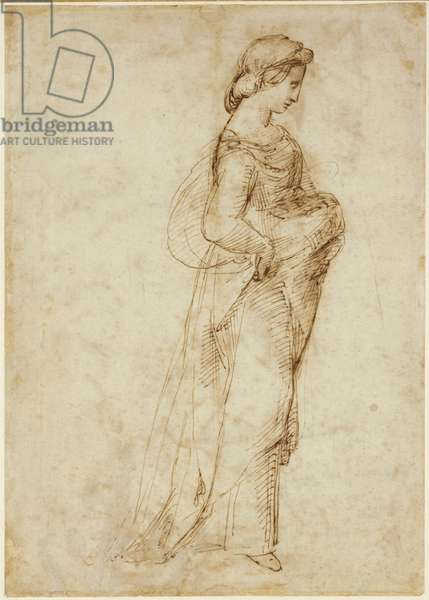 Recto: Female figure walking to right, WA1846.169 (pen & brown ink over leadpoint)