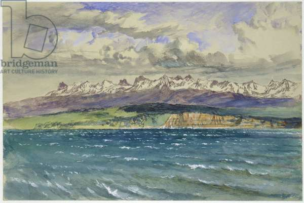 Afternoon in Spring, with south Wind, at Neuchâtel, 30 April 1869 (watercolour and bodycolour over graphite on pale grey wove paper)