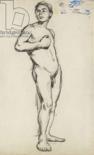 Male Nude, 19th century (charcoal on paper)