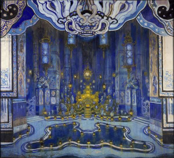 Design for the decor of 'La Salle du Trone' in 'Le Rossignol', 1914 (bodycolour on paper)