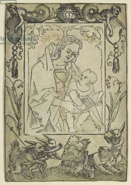 The Virgin and Child surrounded by a Border with a Hunter and some Rabbits (woodcut, overworked in watercolour, printed on parchement)