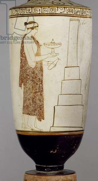 Attic white-ground lekythos showing a woman and youth at a tomb (ceramic)
