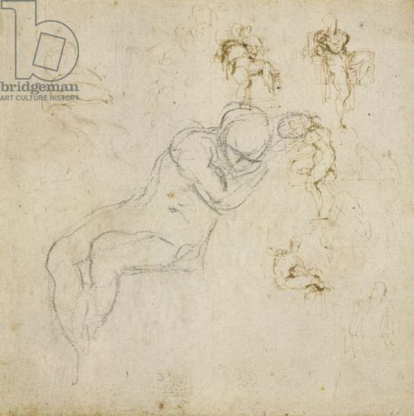 Figure Study, c.1511 (black chalk, pen & ink on paper)