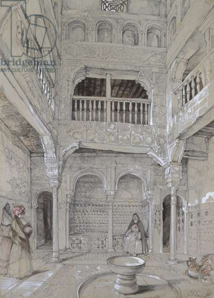Entrance to the Baths at the Alhambra (graphite and white bodycolour with brief touches of watercolour on grey paper)