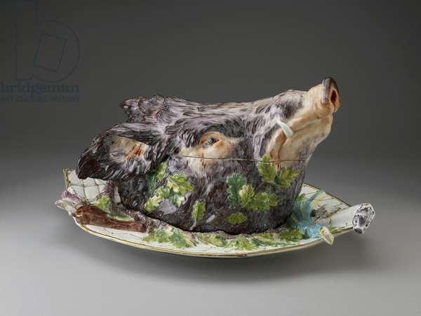 Boars Head Tureen, Chelsea Porcelain Factory, c. 1758 (porcelain)