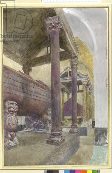 The Tomb of Frederick II in the Cathedral of Palermo, 23 - 30 April 1874 (watercolour and bodycolour over graphite on paper)