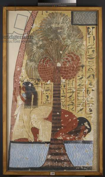 Copy of wall painting from a private tomb 218 of Amennakhte, (I, 1, 317-320), Thebes, man and wife under date palm (tempera)