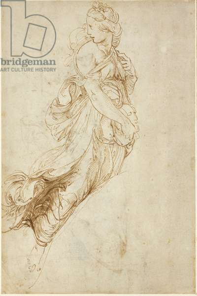 Recto: Study for the Figure of Melpomene, WA1846.182 (pen & brown ink over blind stylus)
