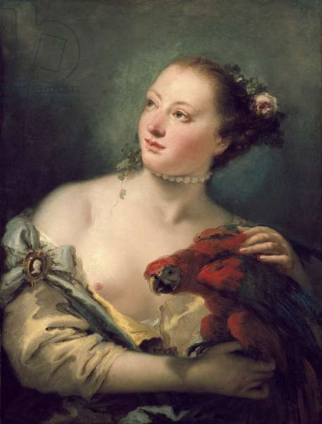 A Young Woman With a Macaw, 18th century (oil on canvas)