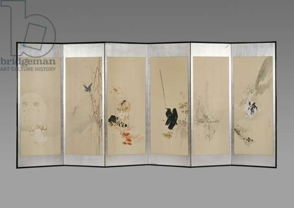Folding screen: Flowers of the Twelve Months, c.1900 (ink & colour on paper)
