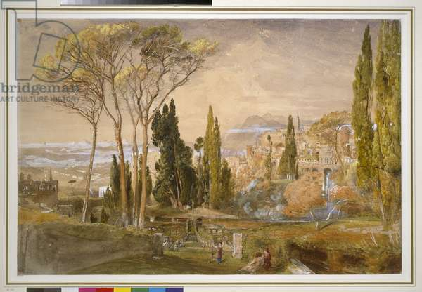 View from the Villa d'Este at Tivoli, 1839 (w/c)
